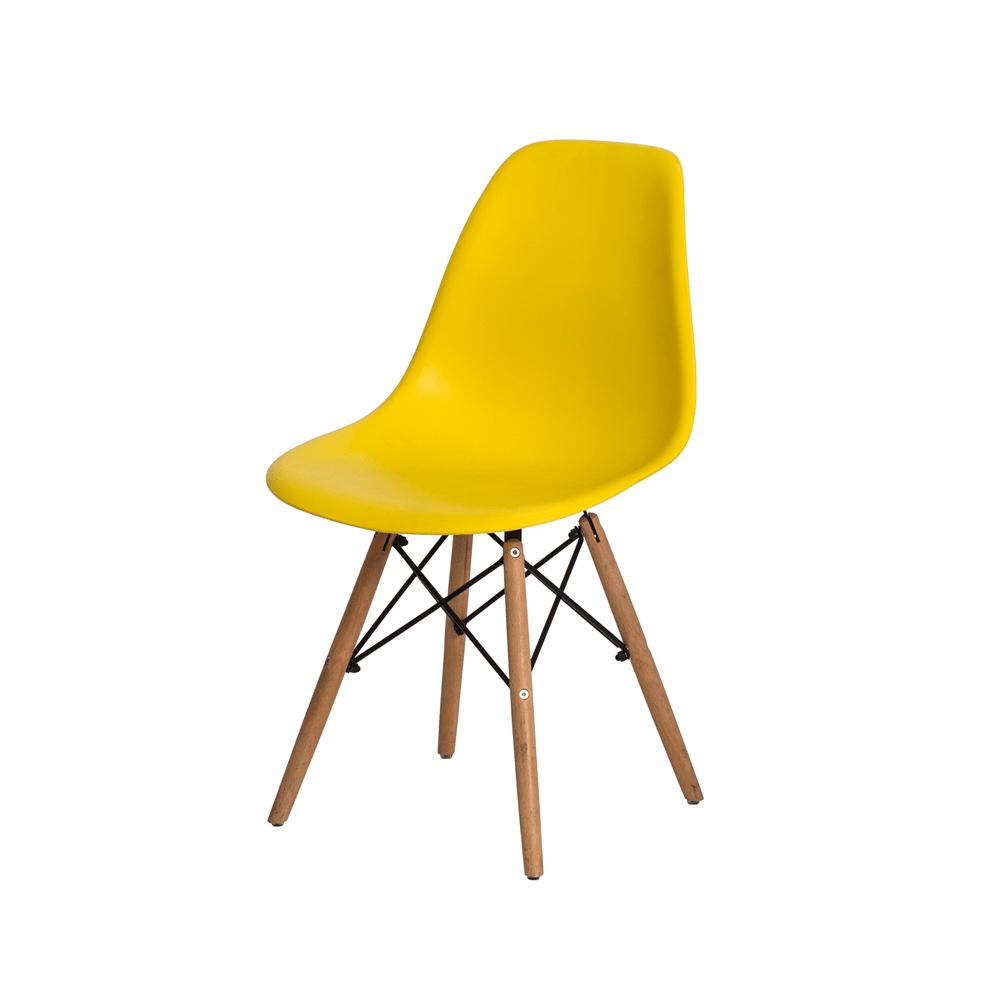Cadeira Charles Eames Eiffel Amarela Base Madeira