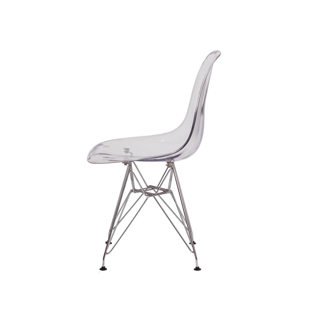 Cadeira Charles Eames Eiffel Dsr Transparente Base Cromada