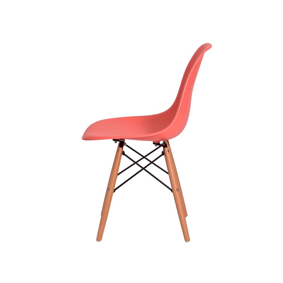 Cadeira Charles Eames Eiffel Rosê Base Madeira