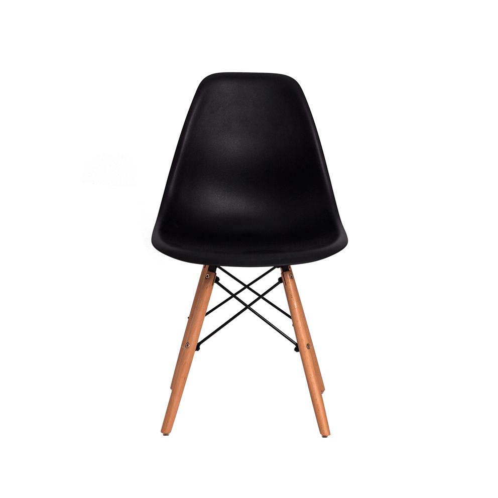 Cadeira Charles Eames Eiffel Preta Base Madeira