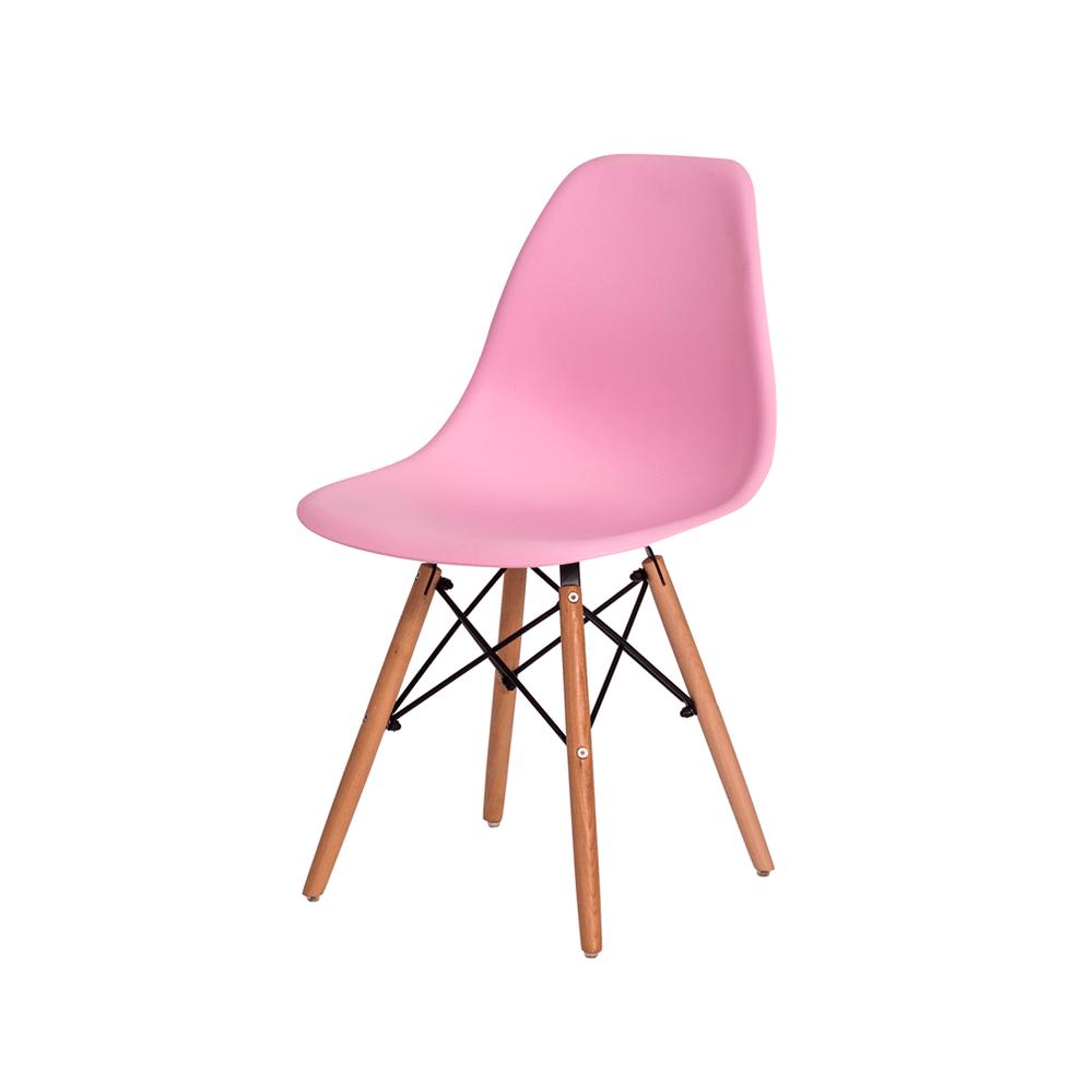 Cadeira Charles Eames Eiffel Rosa Claro Base Madeira