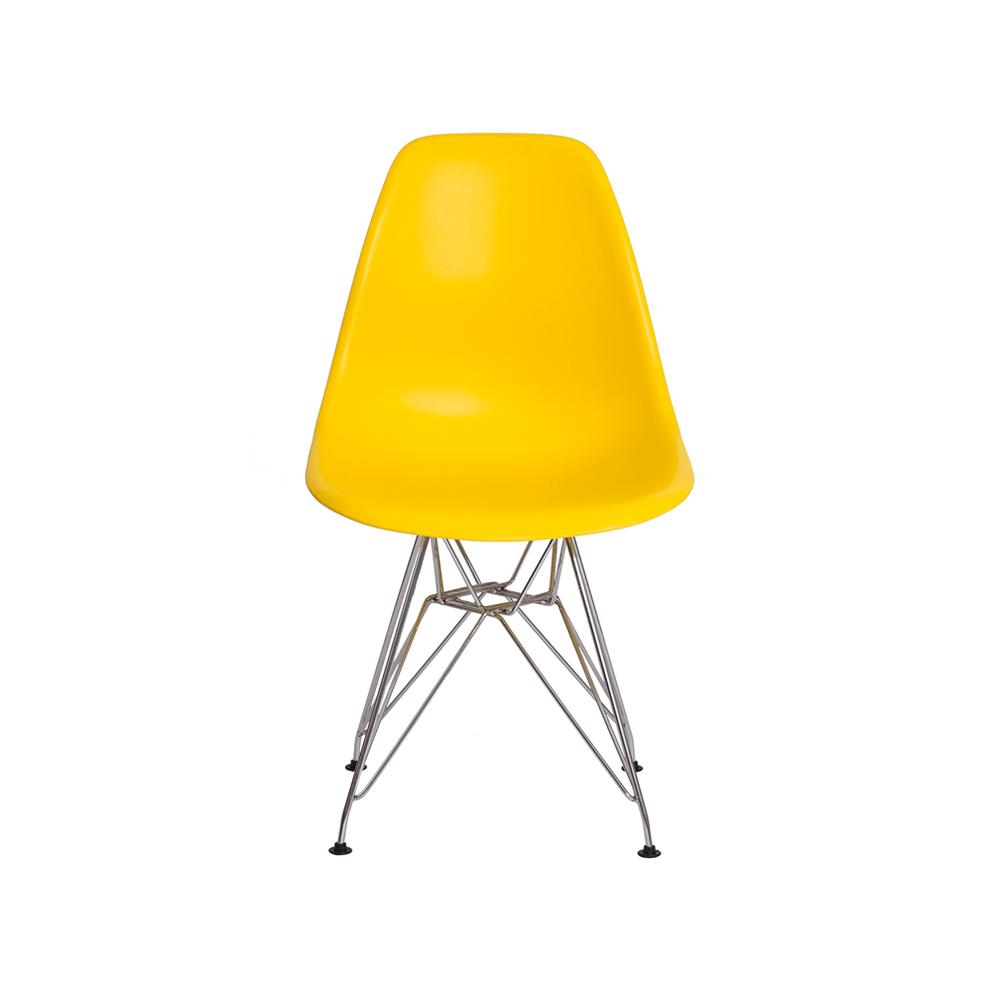 Cadeira Charles Eames Eiffel Amarela Base Cromada