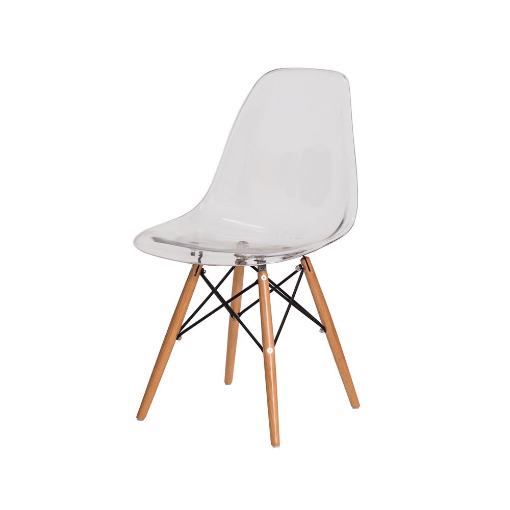 Cadeira Charles Eames Eiffel Transparente Base Madeira