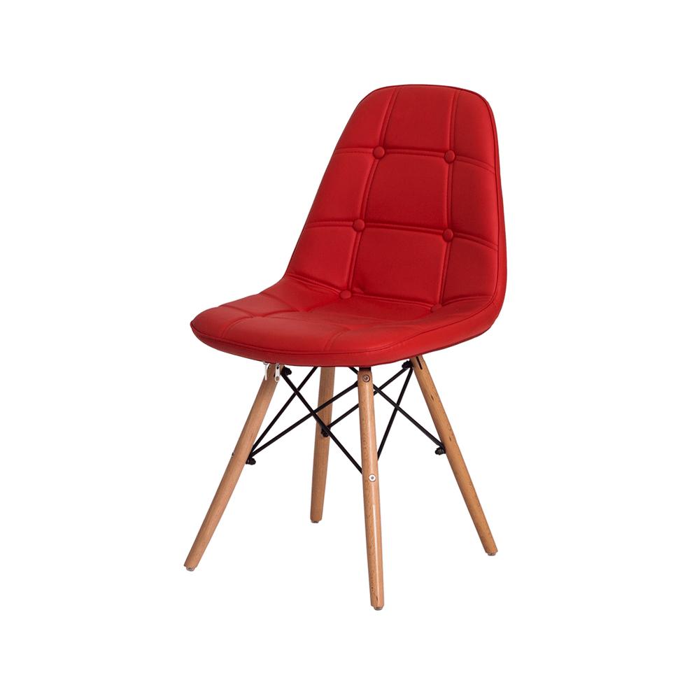Cadeira Charles Eames Eiffel Botonê Vermelha Base Madeira