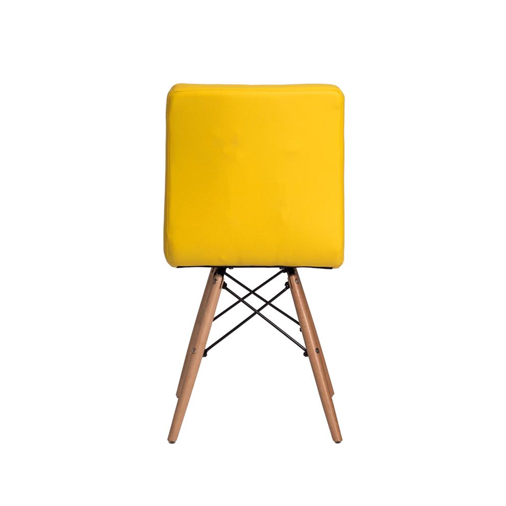 Cadeira Gomos Amarelo com Base de Madeira