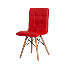 Cadeira Gomos Vermelha com Base de Madeira