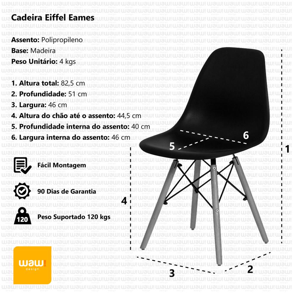Cadeira Charles Eames Eiffel Laranja Base Madeira