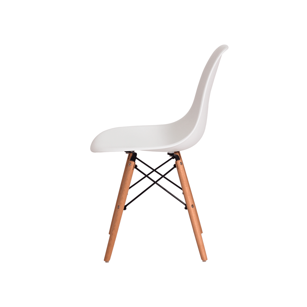 Cadeira Charles Eames Eiffel Branca Base Madeira