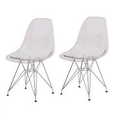 Kit 2 Cadeiras Eiffel Eames Transparentes