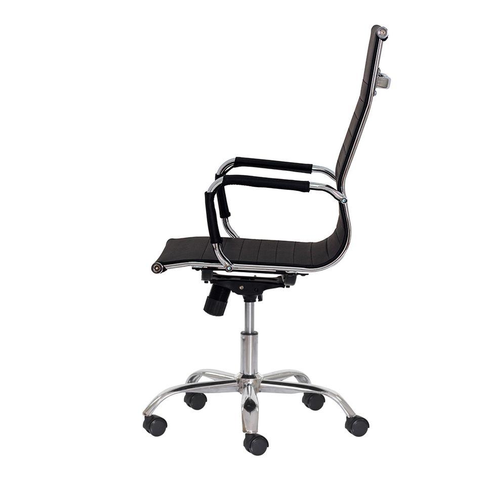 Cadeira Escritório Stripes Presidente Pu Preta Base Giratória Cromada