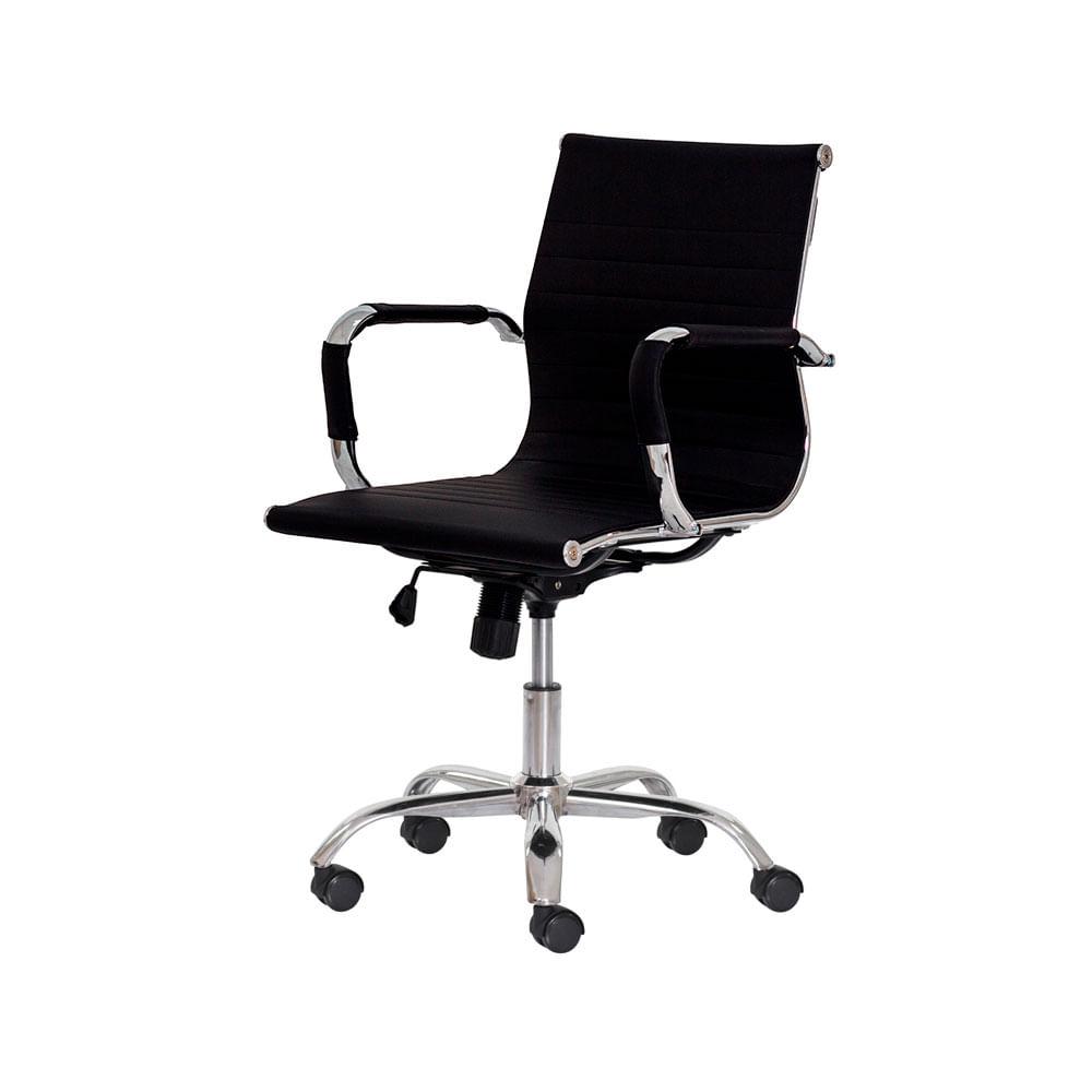 Cadeira Escritório Stripes Diretor PU Preta Base Giratória Cromada