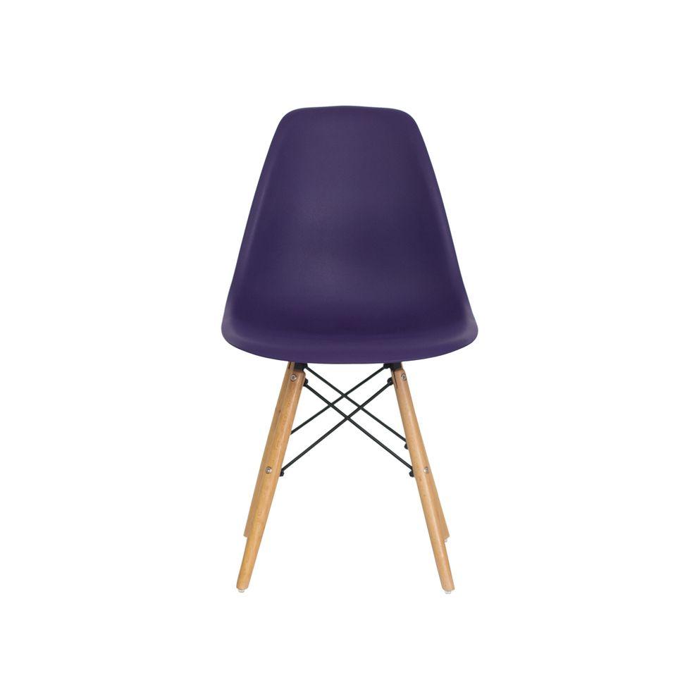 Cadeira Charles Eames Eiffel Roxa Base Madeira