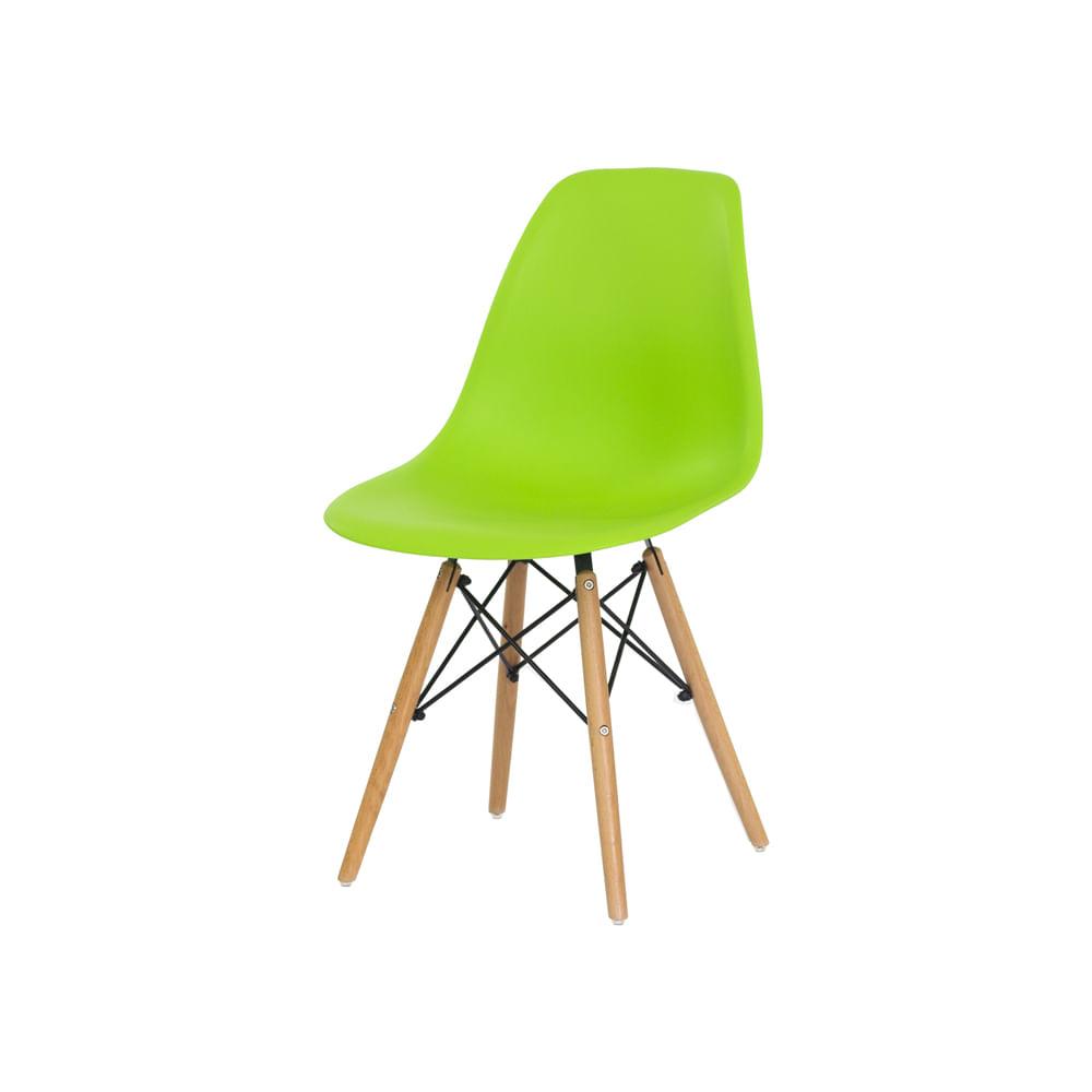 Cadeira Charles Eames Eiffel Verde Base Madeira