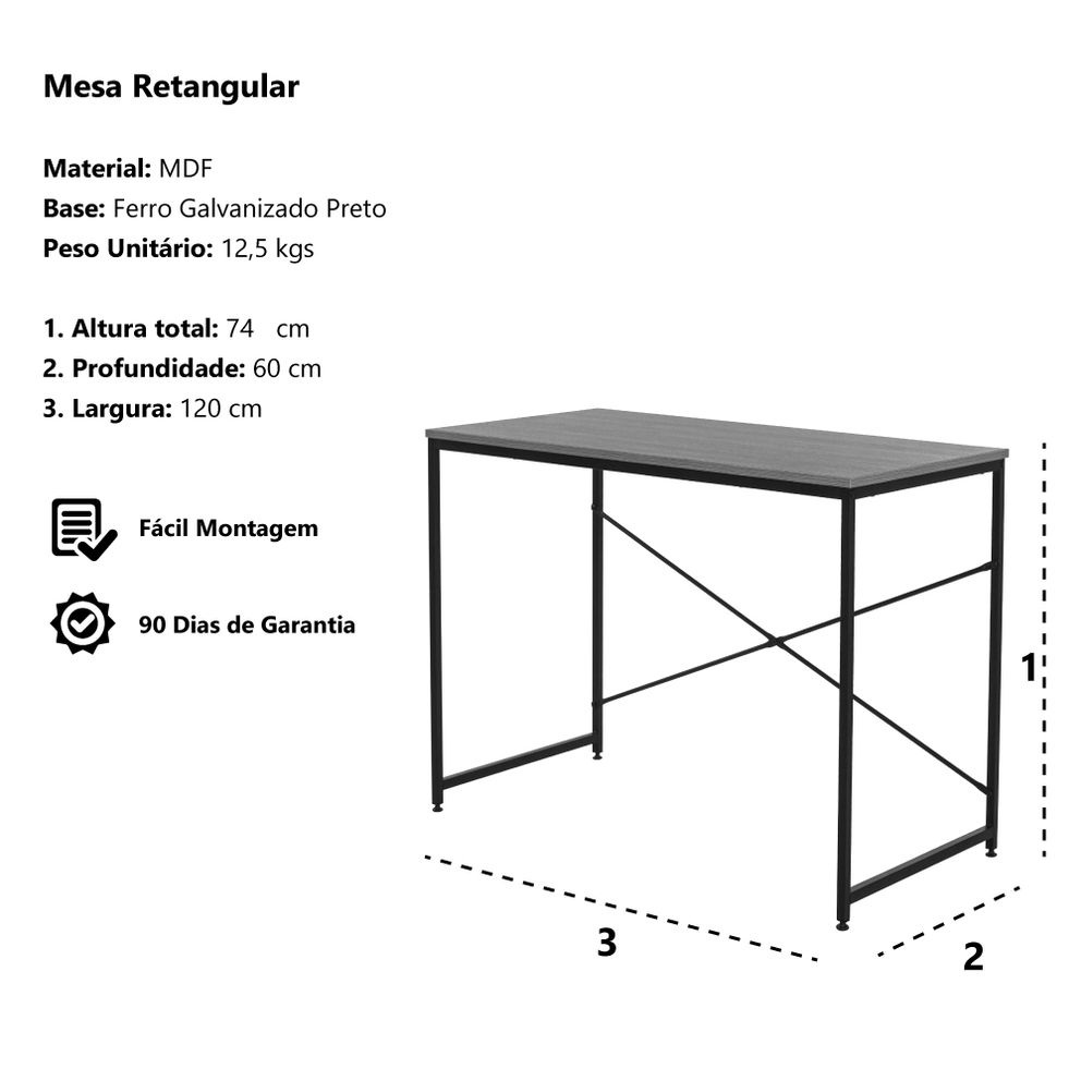 Mesa Escrivaninha Retangular MDF Base Ferro 120x60 Waw Design