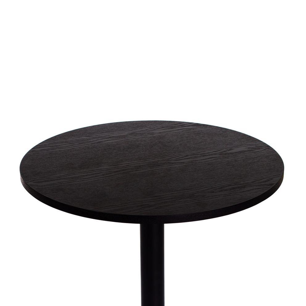 Mesa bistrô fixa preta 60 cm com tampo de madeira Waw Design