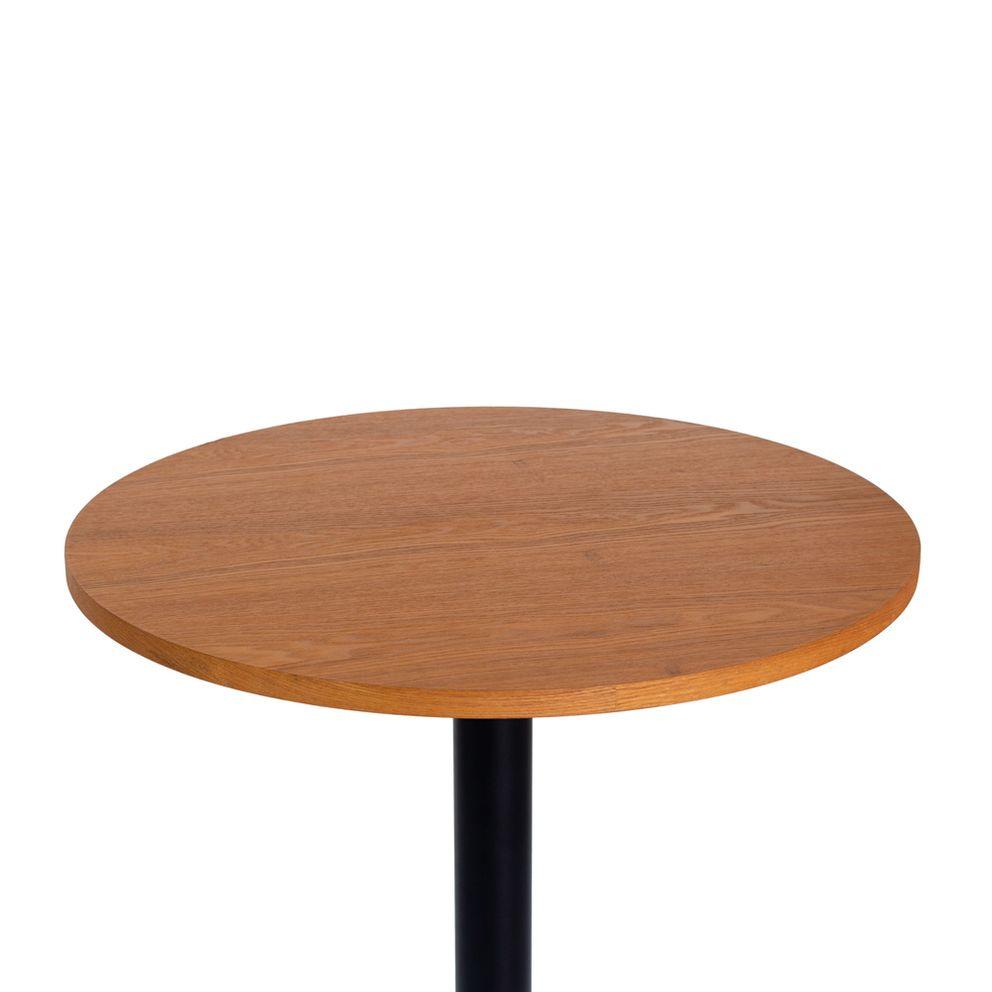 Mesa bistrô fixa 60 cm com tampo de madeira Waw Design