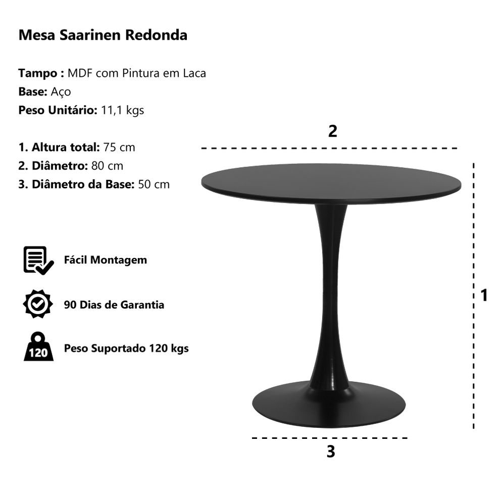 Mesa Saarinen Tulipa redonda branca 80 cm Waw Design